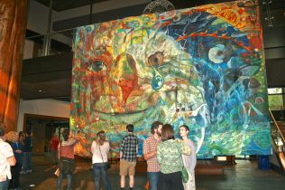 Mural created during the 2014 Totem Pole Journey